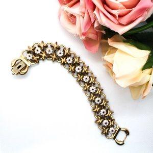 Bergere Vintage Copper Floral Chainlink Bracelet